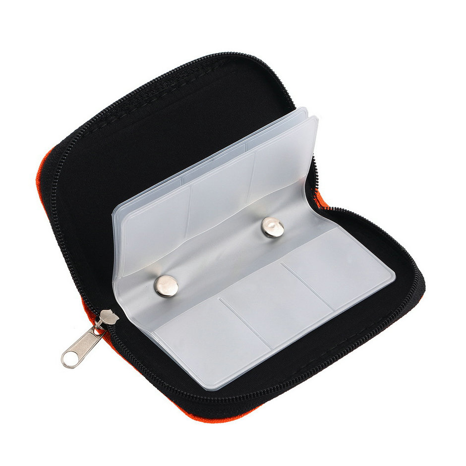 Orange SD SDHC MMC CF Micro SD Memory Card Storage Carrying Pouch Card Holder Case Wallet High Quality