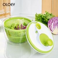 OLOEY Vegetable Washer Kitchen Food Fruit Vegetable Dehydrator Dryer Plastic Manual Salad Spinner Colander Basket Storage Drying