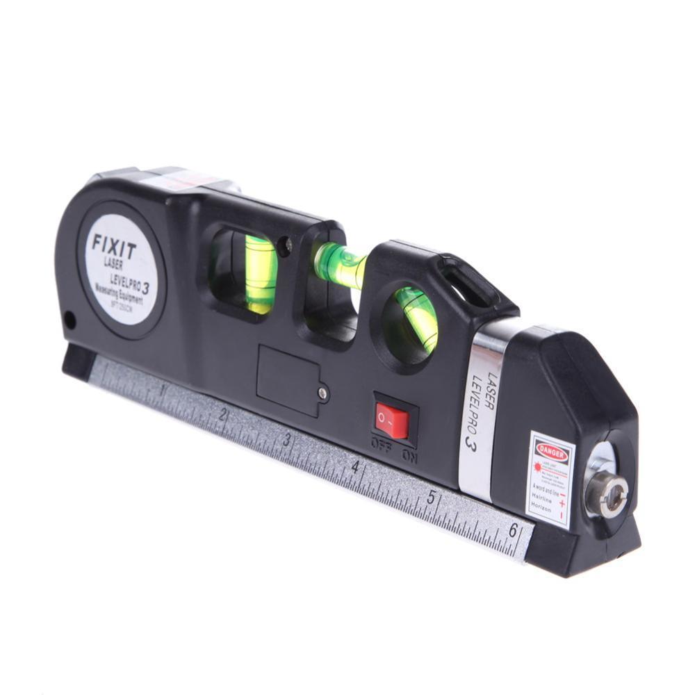 New Laser Level Horizon Vertical Measure 8FT Aligner Standard and Metric Ruler Multipurpose Measure Level Laser Black