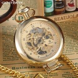 العلامة التجارية الجديدة الفاخرة السلس Steampunk الذهبي الميكانيكية نصف هنتر ساعة الموضة الرجال فوب الخصر سلسلة المرأة جيب الساعات P408
