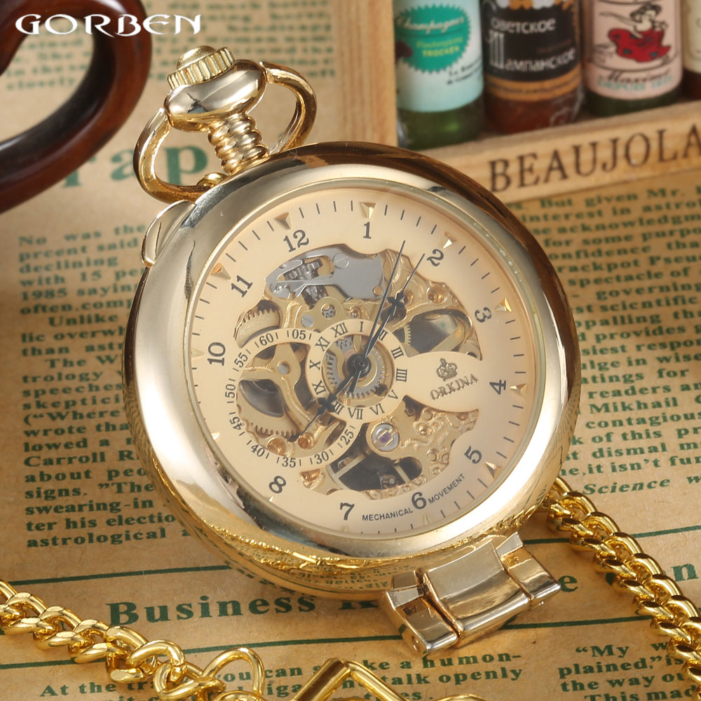 New Brand Luxury Smooth Steampunk Golden Mechanical Half Hunter Fesyen Jam Tangan Lelaki Fob pinggang Rantai Wanita Pocket Watches P408