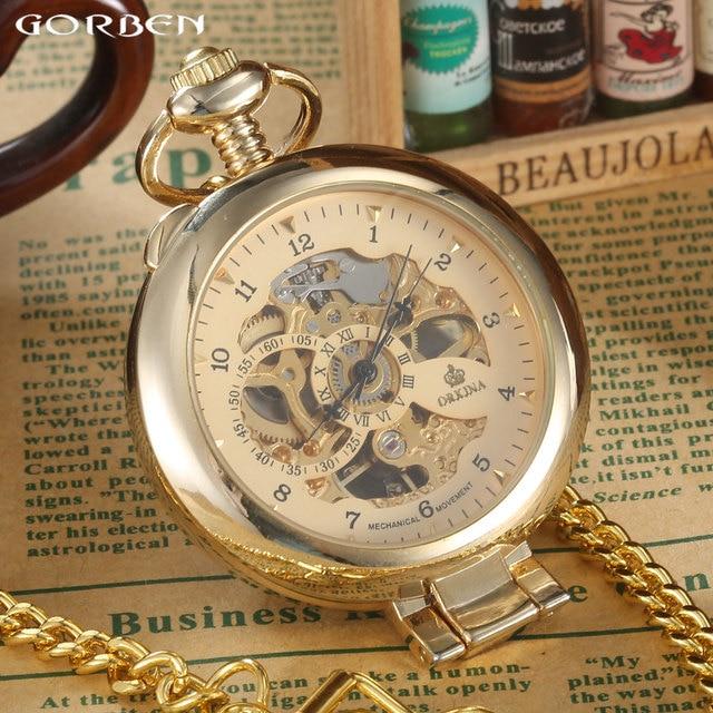 New Brand Luxury Smooth Steampunk Golden Mechanical Half Hunter Fashion Watch Me
