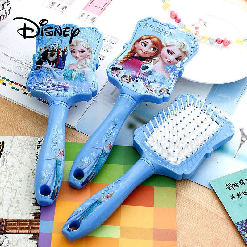 Disney semblant de jouer reine des neiges peigne princesse Anna Elsa Anti-statique soins des cheveux brosses bébé filles habiller maquillages anniversaire enfants cadeaux