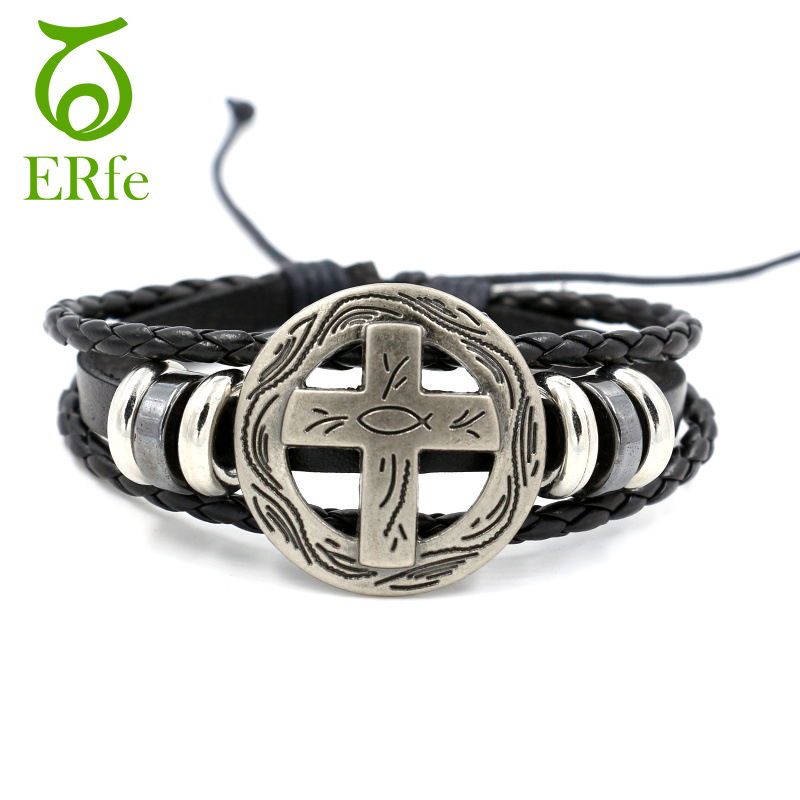 ER Vintage Adjustable Leather Cross Bracelet Men Rock Multi-layer Jesus Fish Braslet Male Personalized Prayer Jewelry LB023