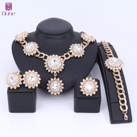 OUHE Sunflower Shape Jewelry Sets For Women Pendant Necklace Earrings Ring Set Dubai 5 Colors Wedding