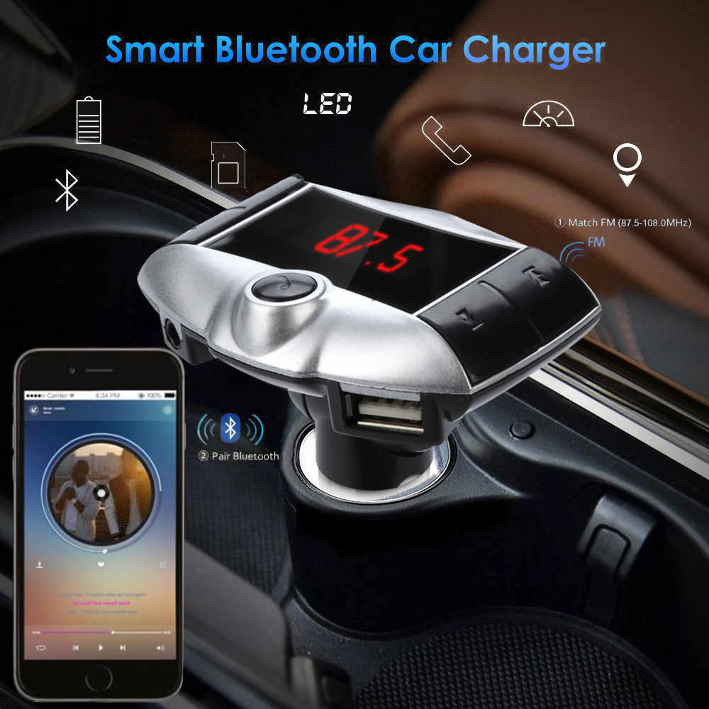 Car Auto Multifunction Wireless Bluetooth FM Transmitter Modulator Car Kit MP3 Player Dual USB Charger Vintage Radio SD Card H28