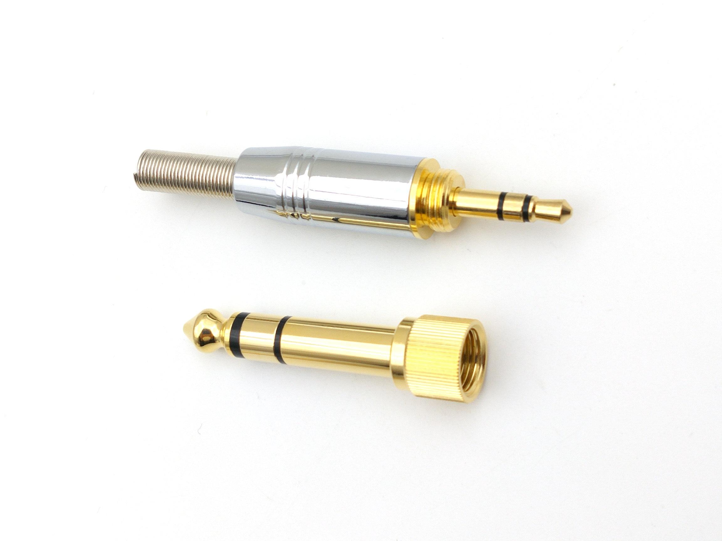 20set Self locking stereo plated 6 35mm revolution to 3 5mm self locking nut take male