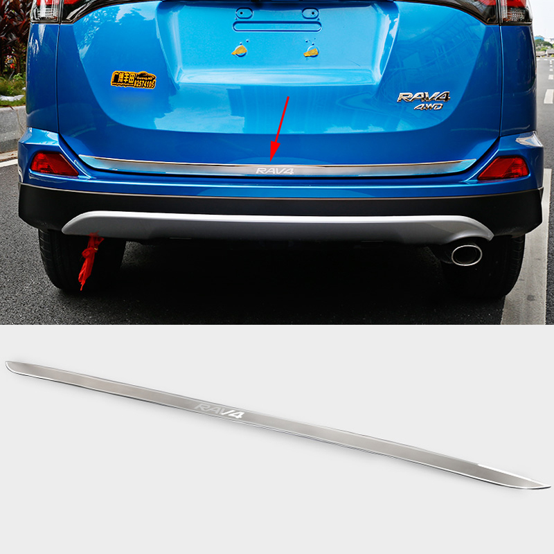 For Toyota RAV4 2016 2017 Car Styling Stainless Steel Rear Bumper Protector Tail Tailgate Trunk Guard Sill Plate Scuff Sequins stainless steel interior rear bumper protector sill rear trunk scuff plate trim for peugeot 408 2014 2015 car styling accessory