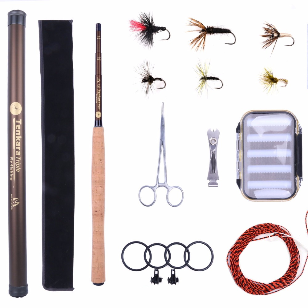 Maximumcatch 9ft-13ft Tenkara Rod Combo Telescoping Fly Rod & Tenkara Line & Flies & Waterproof Box&Nipper maximumcatch classical tenkara fly fishing rod 10 11 12 13ft 7 3 action super light traditional tenkara rod with hook keepers