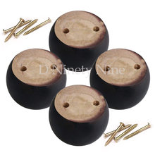 Oak Wood 8x8x5cm Black Eucalyptus-Wood Round Furniture Legs Feet 100kg Bearing Weight for Sofa Cabinets Tables Bed Set of 4(China)