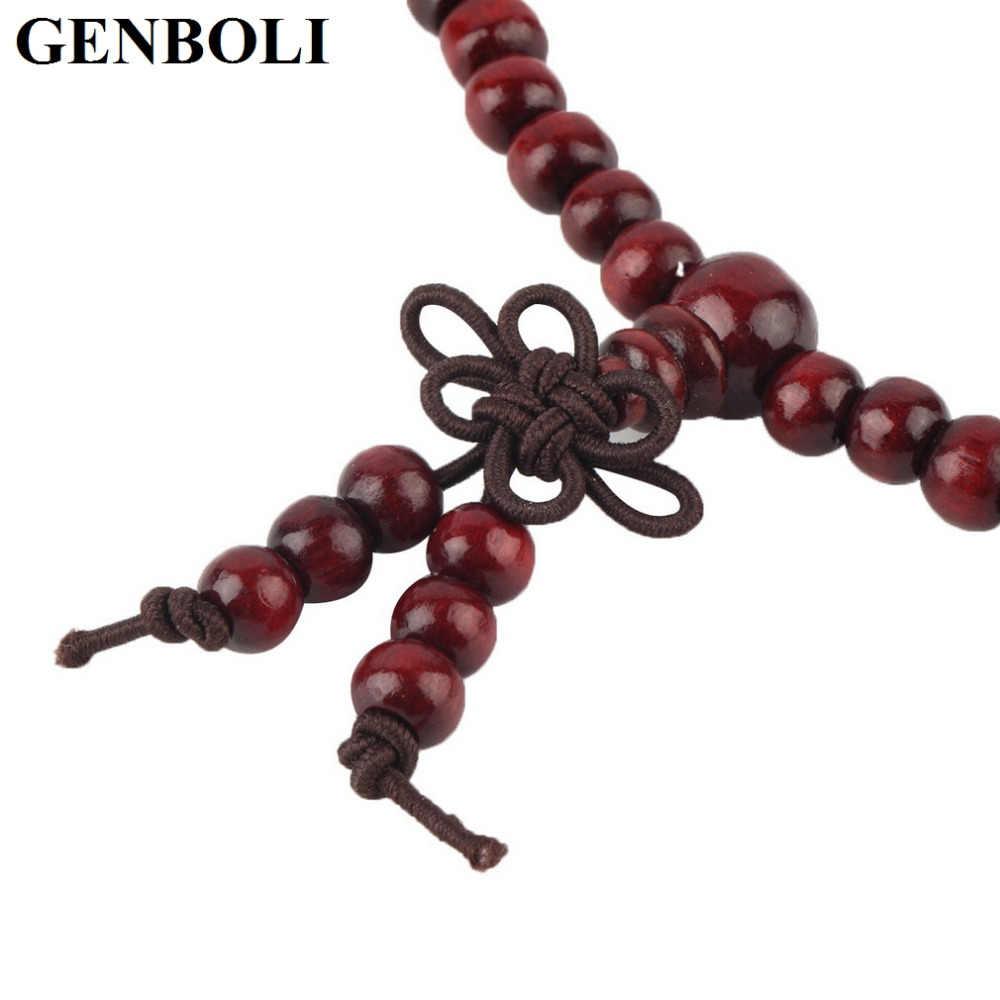 GENBOLI 4 цвета 6 мм натуральные буддийские Бусы из сандалового дерева Будда медитация 108 бусины Дерево Молитва шарик Мала Браслет ювелирные изделия
