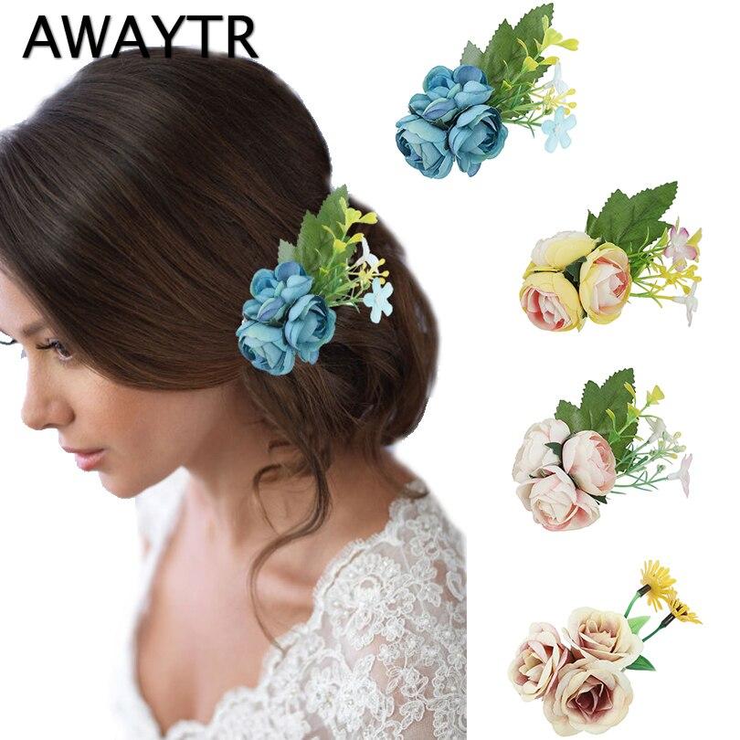 Awaytr Fashion Women Brooch Flower Hairpin Wedding Hair Accessories
