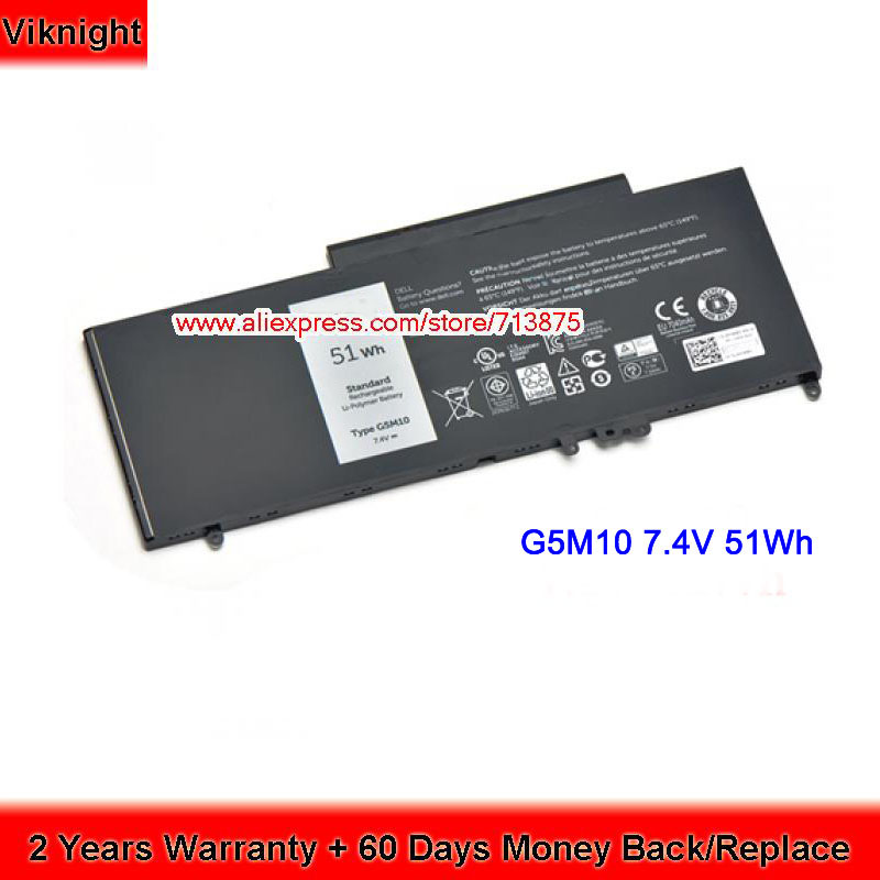 Genuine G5M10 6MT4T Laptop battery 7.4V 51Wh for Dell Latitude E5450 E5550 Notebook 15.6