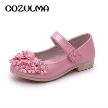 COZULMA Autumn Children Leather Shoes Girls Princess Kids Flat Causal Beautiful Bead Flower Size 26-36