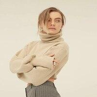 Cute Cropped Turtleneck Knitted Sweater Women Lantern Sleeve Crop Sweater Pullover Ladies Jumper Winter