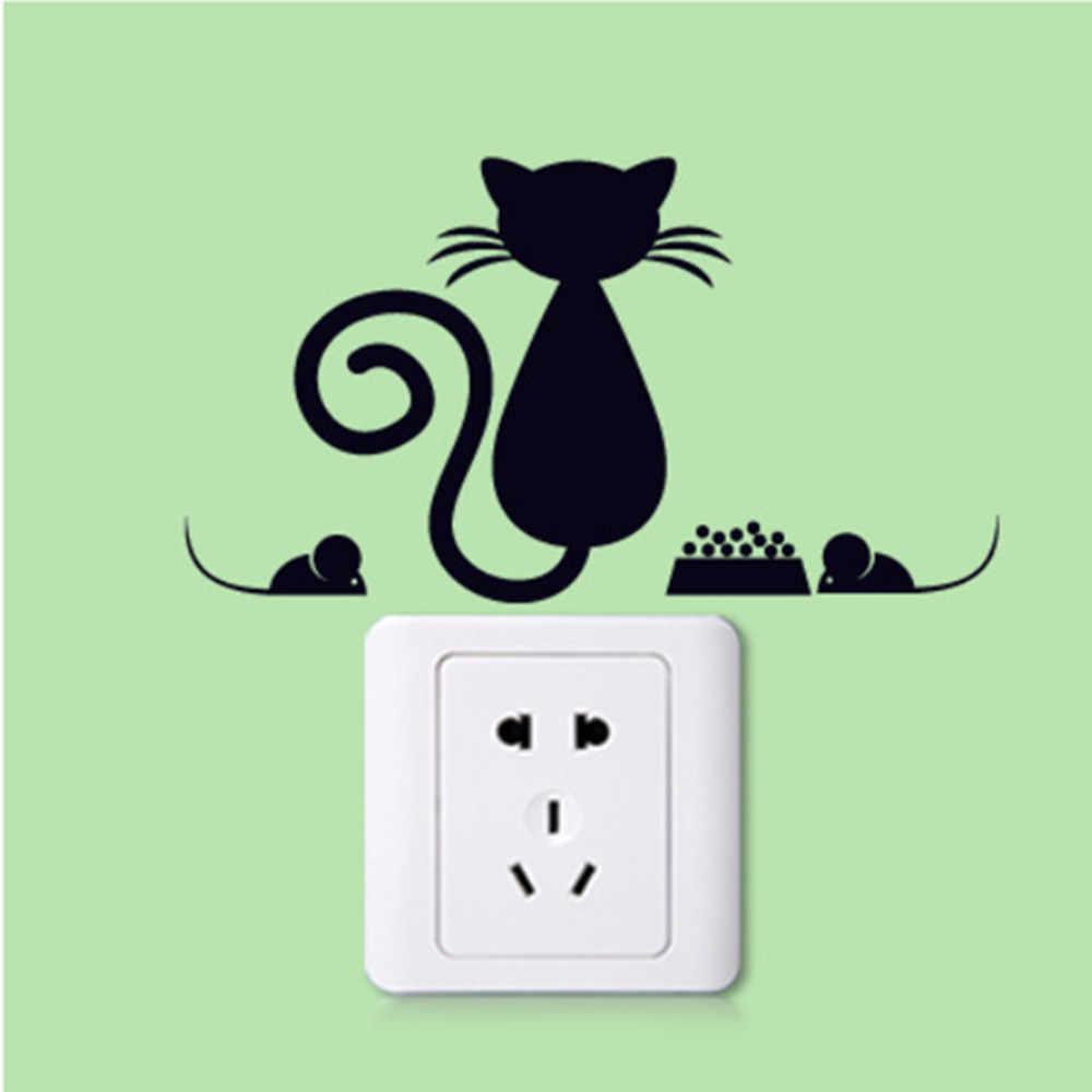 XXYYZZ, милый кот, светильник, переключатель, телефон, наклейки на стену для детских комнат, сделай сам, украшение для дома, Мультяшные наклейки на стену в виде животных, ПВХ, фреска