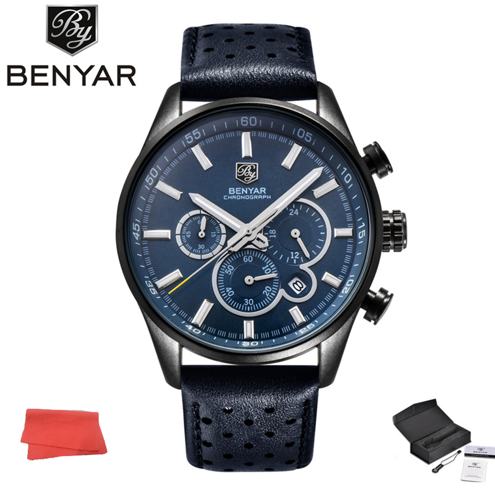 BENYAR Watch Men Outdoor Sports Quartz Watch Mens Sport Military Watches Blue Analog Leather Male Wristwatch Waterproof Clock longbo men military watches complex big dial leather strap wristwatch male outdoor sports quartz watch life waterproof uhren men