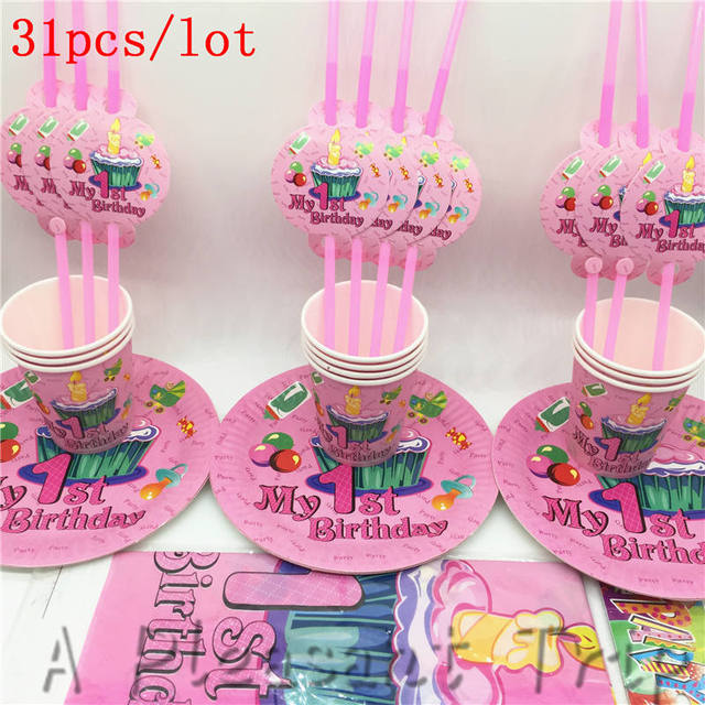 10personal 31pcs Lot First Birthday Party For Girls Simple Set Tray