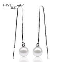 MYDEAR Fine Pearl Jewelry 2016 Hot Sale Cultivate 8 5 9mm White Freshwater Pearl Earrings 925