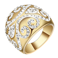 New Luxury Large Crystal Finger Rings Gold Plated Brand CZ Stainless Steel Engagement Ring For Women Party Gift