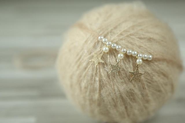 ręcznie wykonana opaska niemowlęca, opaska noworodka, perła - Odzież dla niemowląt - Zdjęcie 5