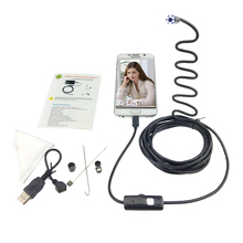 3.5m Hard Cable USB Android Endoscope Camera 7mm Lens Hard Wire 6LED Waterproof Endoscope Camera Snake Industrial Endoscope