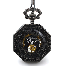 New Vintage Steampunk Roman Dial Mechanical Skeleton Mens Black Wind up Pocket Watch W/ Chain relogio de bolso Xmas Gift