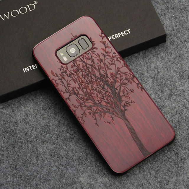 for samsung galaxy s8 s9 plus case real wood back cover laser