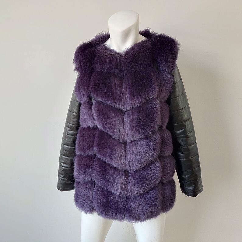 UPPIN шуба Новые Большие размеры меховое пальто с рукавами из искусственной кожи женская зимняя куртка из искусственного меха лисы Женская Осенняя модная теплая верхняя одежда пальто шуба из искусственного меха шубы - Цвет: purple