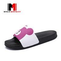 ONLYMONKEY Women Slides Cute Cartoon Couple Shoes New Arrival Open Toe Breathable Women Slippers Mixed Colors Women Beach Sandal