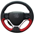 XuJi Black Red Genuine Leather Car Steering Wheel Cover for Honda Civic Civic 9 2012 2013 2014 2015