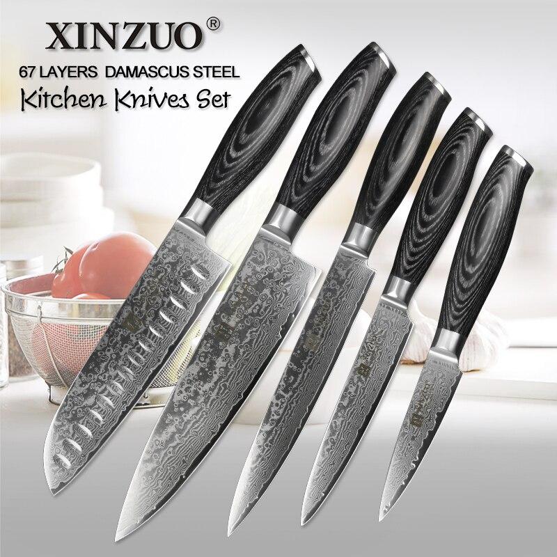 XINZUO 5 pcs Cuisine Couteaux Set Japonais VG10 Damas Acier Inoxydable Couperet Chef Couteau Rasoir Bois Pakka Poignée