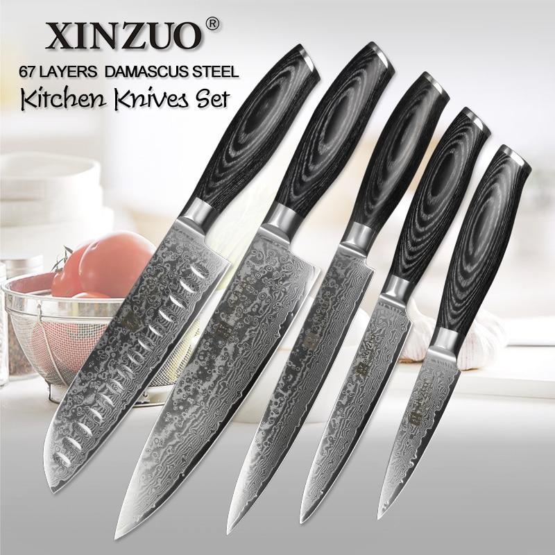 XINZUO 5 pz Coltelli Da Cucina Set Giapponese VG10 di Damasco In Acciaio Inox Mannaia Cuoco Coltelli Utility Razor Sharp Pakka Manico In Legno