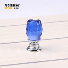 25mm Modern Crystal Glass Blue Rose Knobs Glass Alloy Furniture Cabinet Cupboard Door Pull Handle Knobs for Drawer Dresser