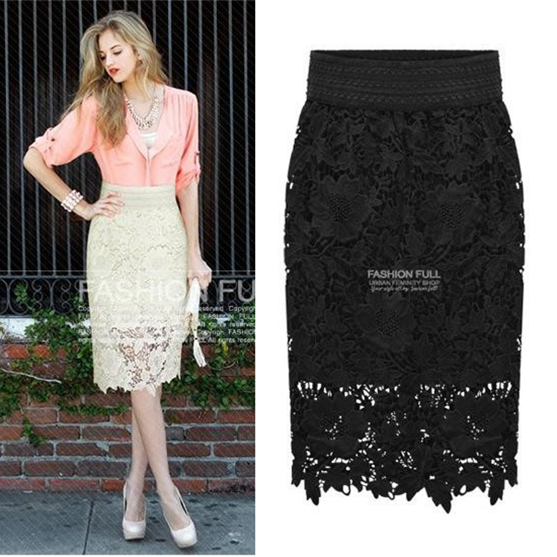 2017 New Spring Fashion Women Skirt Package Hip Slim Was Thin Skirt Womens OL Knee Length Lace Embroidery Midi Skirt Women Saia