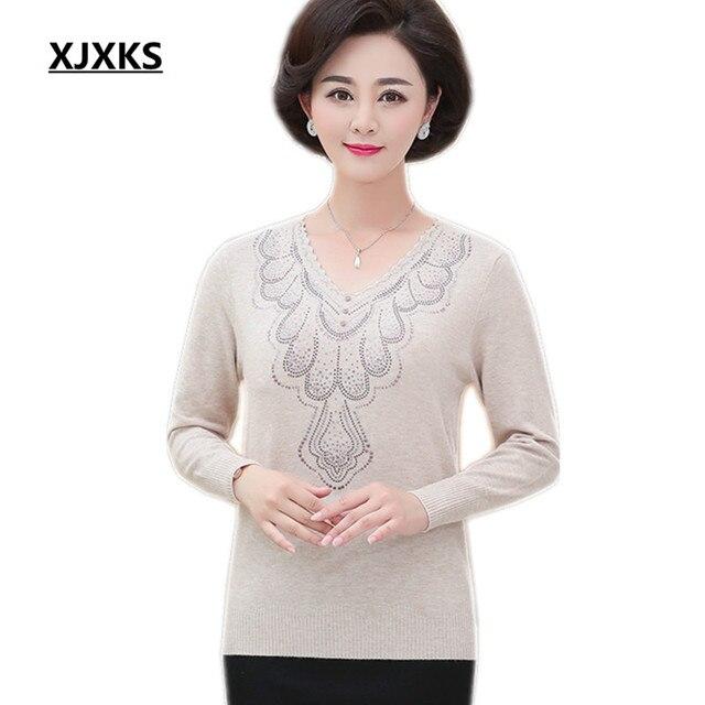 8206f2c6201f XJXKS 2018 mother pullovers sweater women fashion long-sleeve good quality sweaters  loose large size women wool sweater