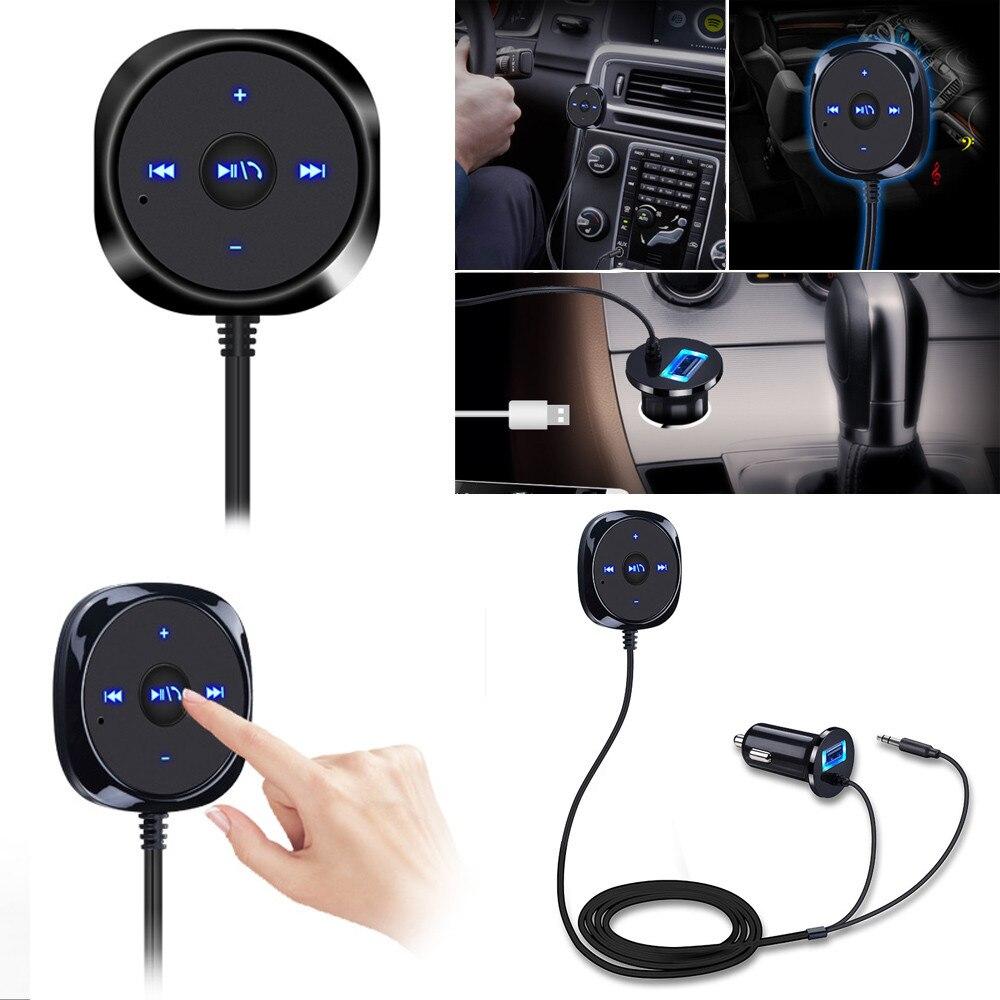 New Arrival Auto Bluetooth 4.0 Wireless Music Receiver 3.5mm Adapter Handsfree Car AUX Speaker hk009 wireless bluetooth 4 0 handsfree car speaker black