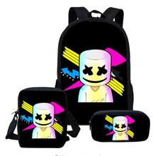 66472528a 2019 Novos Sacos de Escola DJ Marshmello 3 pçs/set para Estudantes  Schoolbag Anime bolsa de Ombro Estilo Mochila Lazer Criança .