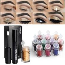QiBest 20 Colors Shinning Glitter Eyeshadow Lasting Beauty Eyes Make Up Powder With Glue Eye Shadow Makeup Cosmetics