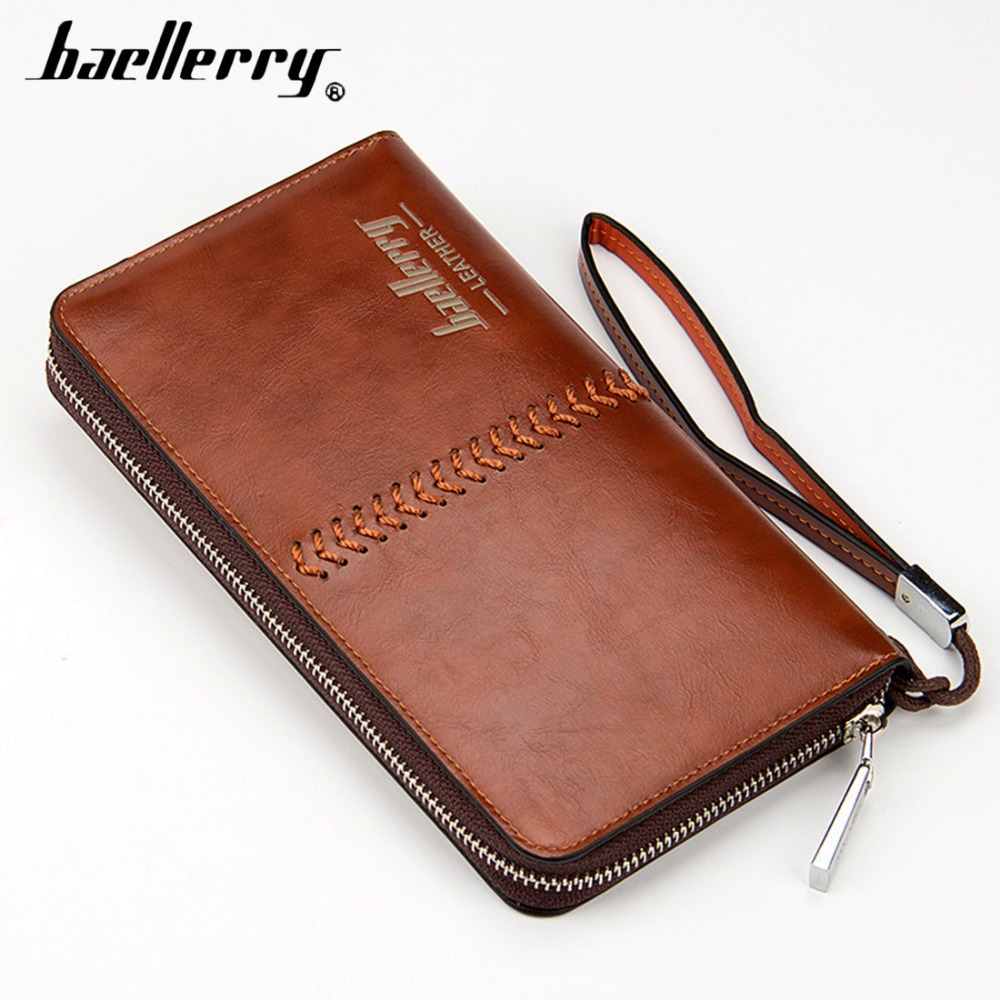 Baellerry Leather Men Clutch Long Men Wallets Top Brand Male Purse High Quality Big capacity Wristlet Clutch Bags portemonnee 2016 famous brand new men business brown black clutch wallets bags male real leather high capacity long wallet purses handy bags
