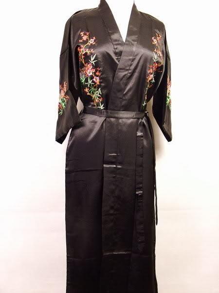 Preto de seda de cetim mulheres bordado vestido Kimono Robe de banho pijamas RB0034 tamanho ml XL XXL
