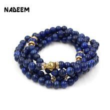 Newest Buddhist Buddha Meditation 8mm and 10mm 108 Prayer Lapis Bead Elastic Mala Bracelet Necklace Women Free Shipping ND1847
