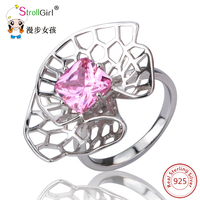 New 100 Authentic 925 Sterling Silver Flowers Pink Cubic Zircon Rings Compatible With Original Pan Ring