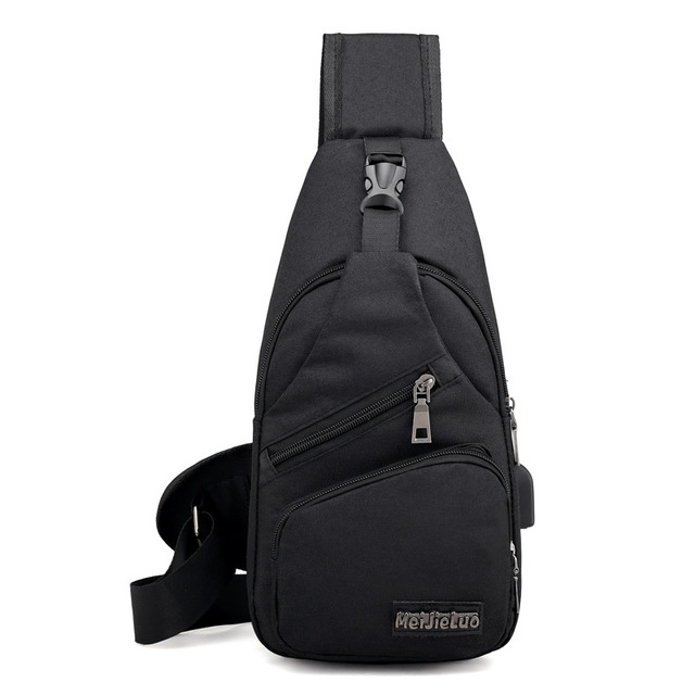 USB Charging Cross-body Male Shoulder Bag with Anti Theft For School Summer Short Trip