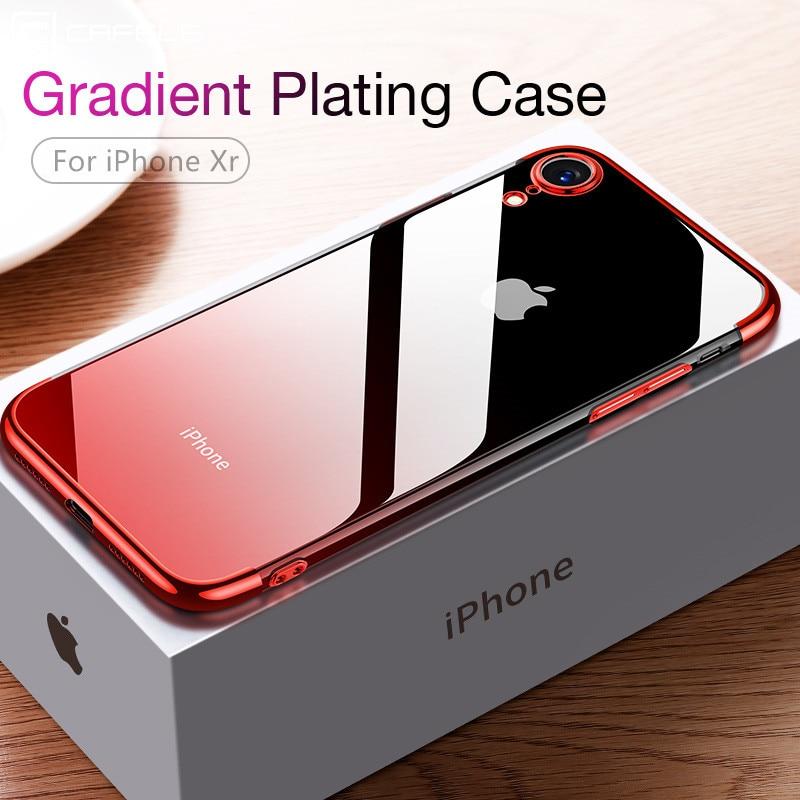 Cafele gradiente chapeamento caso para iphone xr xs xs max capa de silicone transparente luxo aurora macio tpu caso do telefone