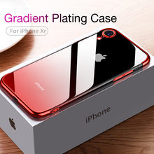CAFELE Gradient Plating Case voor iPhone Xr XS XS Max Cover Transparant Siliconen Cover Luxe Aurora Soft TPU Telefoon Case(China)