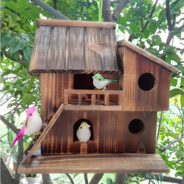 Online Shop 25*25*16 Cm Wood Preservative Outdoor Birds Nest Wood  Preservative Bird Nest Decoration Bird House Wooden Bird Cage Toy |  Aliexpress Mobile