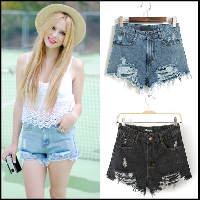 2014 New Sexy  Blue/Black /White  Mid Waist Ripped Denim Short  579