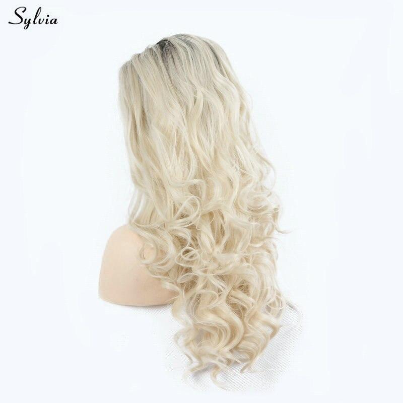 Sylvia cheveux naturels perruque Blonde Ombre courte racines foncées 2 tons plein d'entrain bouclés doux cheveux longs synthétiques avant de lacet perruques pour les femmes