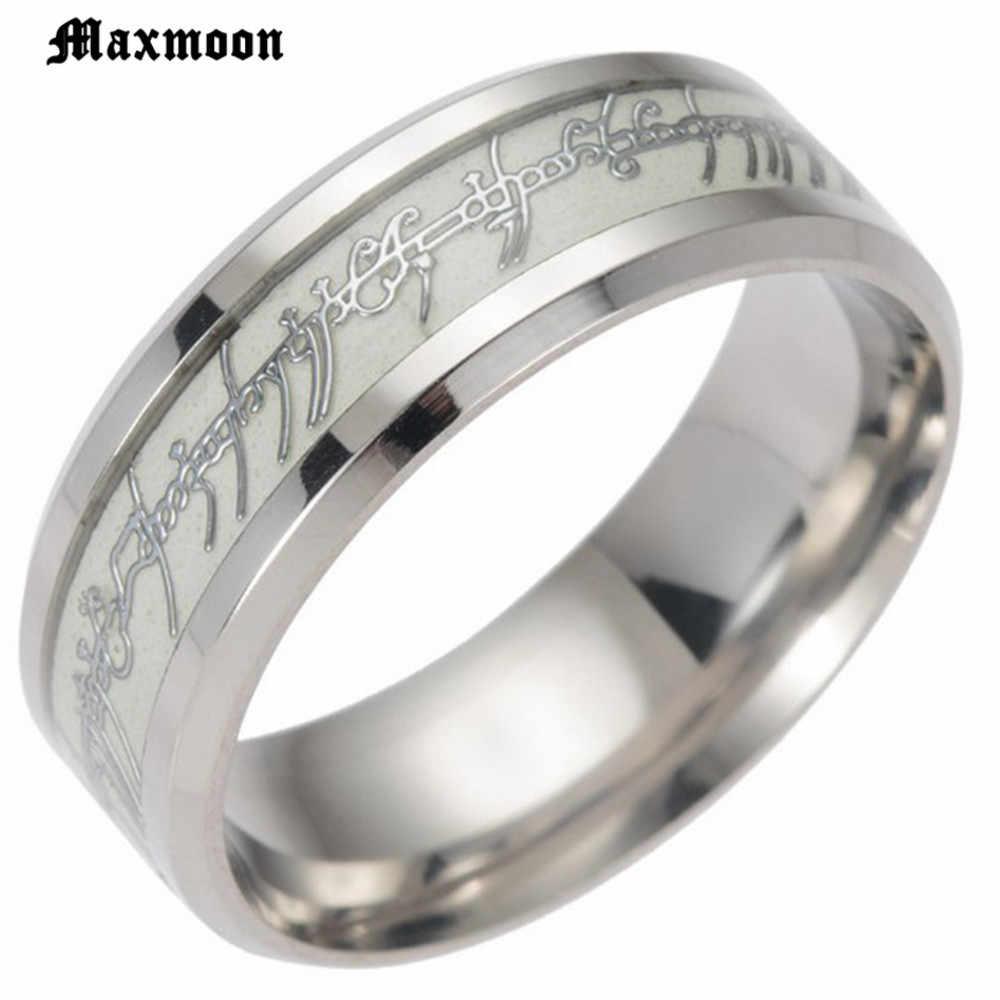 Maxmoon Glow In The Dark Luminous Anel Hobbit Senhor do Anel de Casamento para Os Homens do Sexo Masculino Anel Aliança De Casamento de Aço Inoxidável